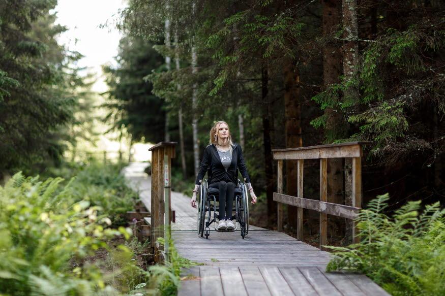 Person som sitter i rullstol njuter av en vistelse i Forssjö friluftsområde. Personen åker på en tillgänglighetsanpassad vandringsled.