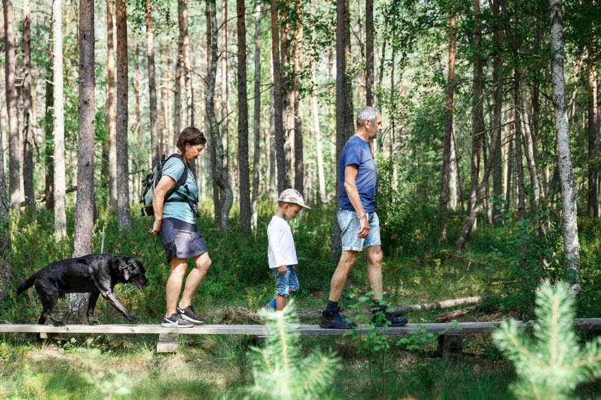 Tre personer, två vuxna och ett barn vandrar på en spång i naturen. De har en hund med sig.