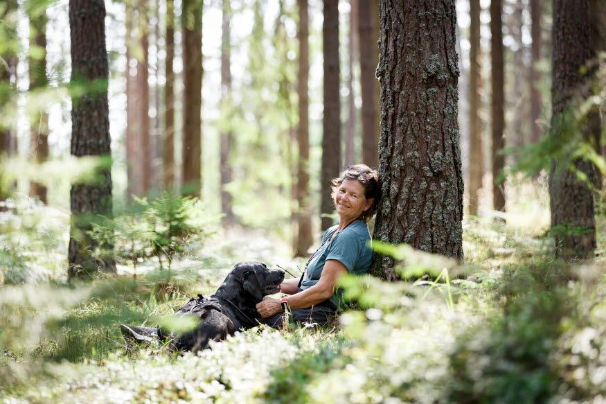 En kvinna vilar i blåbärsriset mot en stam. Bredvid vilar en hund.